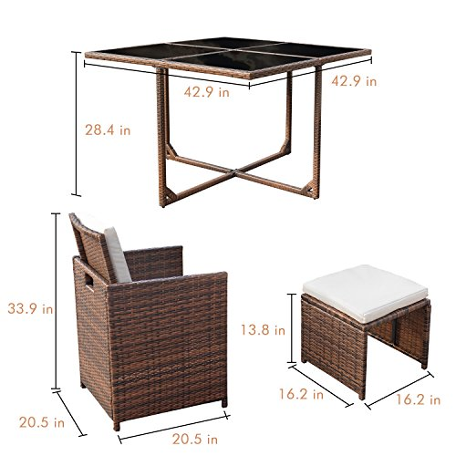 Devoko 9 Pieces Patio Dining Sets Outdoor Space Saving Rattan Chairs with Glass Table Patio Furniture Sets Cushioned Seating and Back Sectional Conversation Set (Brown)
