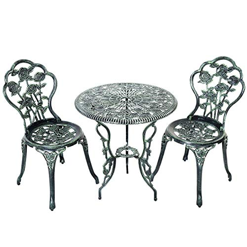 Giantex 3 Piece Bistro Set Cast Rose Design Antique Outdoor Patio Furniture Weather Resistant Garden Round Table and Chairs w/Umbrella Hole (Rose Design)