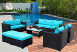 Rattaner Outdoor PE Wicker Furniture Set -7 Pcs Patio Garden Conversation Cushioned Seat Couch Sofa Chair Set-Turquoise Cushion