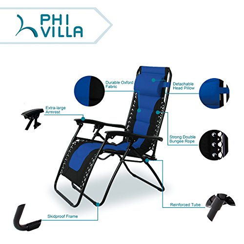 PHI VILLA Padded Zero Gravity Lounge Chair Patio Foldable Adjustable Reclining with Cup Holder for Outdoor Yard Porch Blue