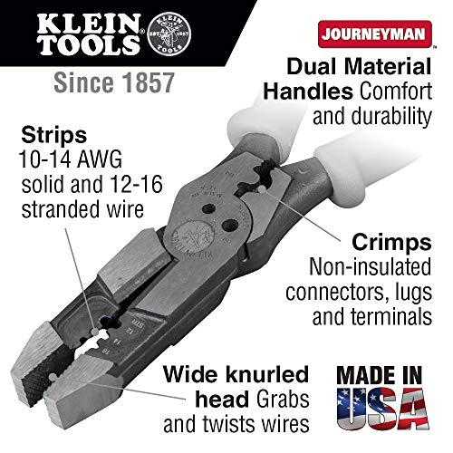 Pliers, Hybrid Multi Purpose Tool with Crimper, Bolt Shearing Holes and Stripper Klein Tools J215-8CR