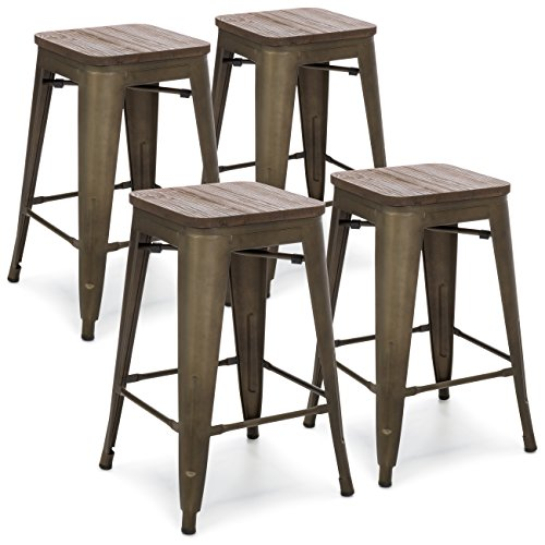 Best Choice Products 24in Metal Industrial Distressed Bar Counter Stools with Wooden Seat Top, Set of 4, Copper