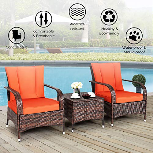 Tangkula 3 Piece Patio Furniture Set Wicker Rattan Outdoor Patio Conversation Set with 2 Cushioned Chairs & End Table Backyard Garden Lawn Chat Set Chill Time Modern Outdoor Furniture (Orange)