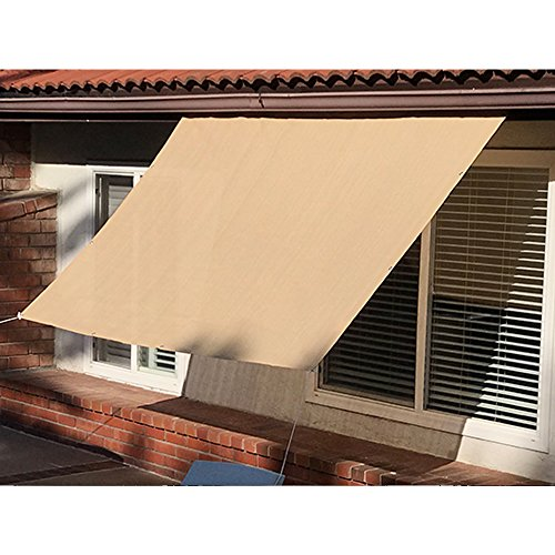 Alion Home Sun Shade Panel Privacy Screen with Grommets on 4 Sides for Outdoor, Patio, Awning, Window Cover, Pergola or Gazebo -200 GSM (3' x 6', Banha Beige)