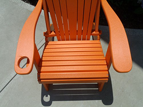 Furniture Barn USA Premium Folding Adirondack Chair w/Cup Holder - Poly Lumber - Orange