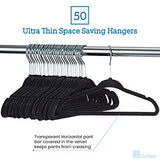 "ZOBER - Kids Velvet Hangers - 50 Pack - 14"" Wide - Premium Quality Space Saving Strong and Durable 360 Degree Chrome Swivel Hook Ultra Thin Non Slip Junior Hangers - (Black)"