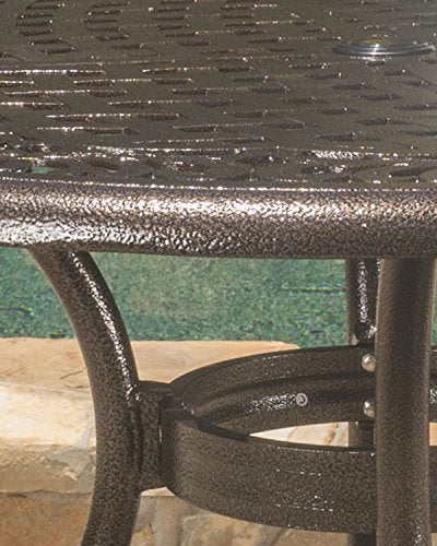 Kiawah | Round Cast Aluminum Outdoor Patio Table | Perfect for Dining | in Hammered Bronze