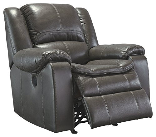 Ashley Furniture Signature Design - Long Knight Rocker Recliner - Pull Tab Manual Reclining Sofa - Contemporary - Gray