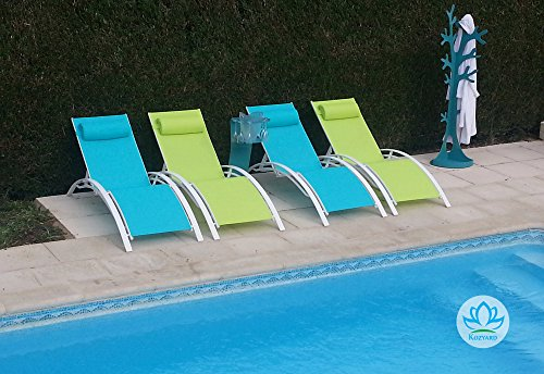 Kozyard KozyLounge Elegant Patio Reclining Adjustable Chaise Lounge Aluminum and Textilene Sunbathing Chair for All Weather with headrest (2 Pack), KD,Very Light