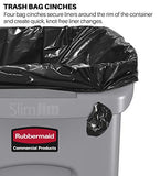 Rubbermaid Commercial Products Slim Jim Plastic Rectangular Trash/Garbage Can with Venting Channels, 16 Gallon, Black (1955959)