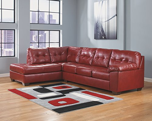 Ashley Furniture Signature Design - Alliston 2-Piece Sectional - Right Arm Facing Sofa & Left Arm Facing Corner Chaise - Salsa Red