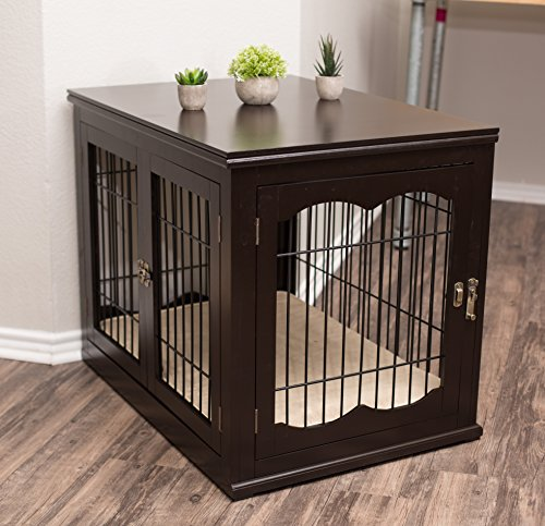 Internet's Best Decorative Dog Kennel with Pet Bed - Double Door - Wooden Wire Dog House - Large Indoor Pet Crate Side Table - Espresso
