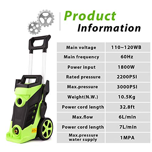 Homdox 3500 PSI Electric Pressure Washer 2.6 GPM High Pressure Washer 1800W Electric Power Washer Cleaner with 4 Nozzles