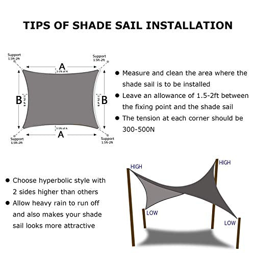 Shade&Beyond 7'x13' Sun Shade Sail Rectangle Canopy Sail Sunshade UV Block for Patio Yard Backyard Sand