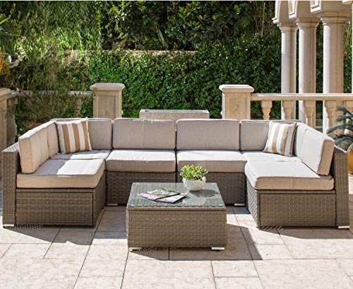 SOLAURA Outdoor Furniture Set 7-Piece Wicker Furniture Modular Sectional Sofa Set Light Gray Wicker Light Gray Olefin Fiber Cushions & Sophisticated Glass Coffee Table with Waterproof Cover