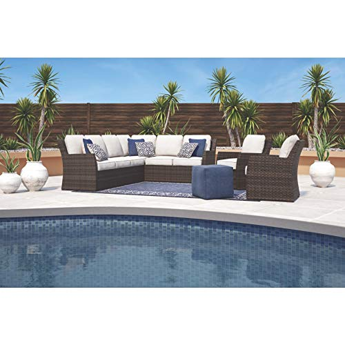 Ashley Furniture Signature Design - Salceda Outdoor 3-Piece Sectional Set - Sofa Sectional & Chair with Cushions - Beige & Brown