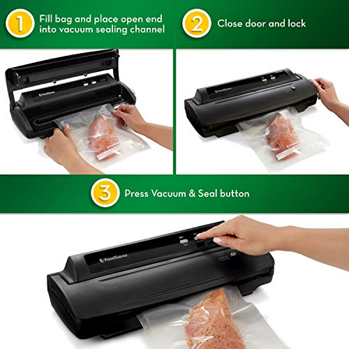 FoodSaver V2244 Vacuum Sealer Machine for Food Preservation with Bags and Rolls Starter Kit | #1 Vacuum Sealer System | Compact & Easy Clean | UL Safety Certified | Black