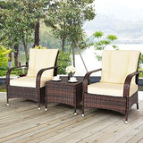 Tangkula 3 Piece Patio Furniture Set Wicker Rattan Outdoor Patio Conversation Set with 2 Cushioned Chairs & End Table Backyard Garden Lawn Chat Set Chill Time Modern Outdoor Furniture (Beige)