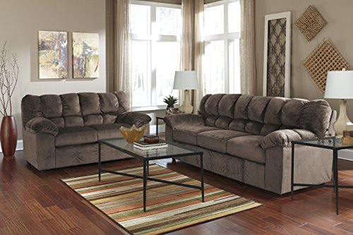 Ashley Furniture Signature Design - Julson Contemporary Loveseat - 2 Seats - Puckered Stitching - Café
