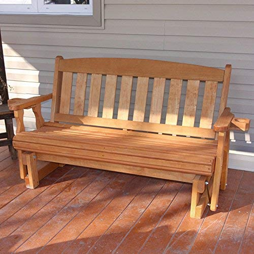 Amish Heavy Duty 800 Lb Mission Pressure Treated Porch Glider with Cupholders (4 Foot, Cedar Stain)