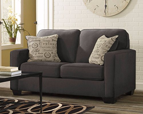 Ashley Furniture Signature Design - Alenya Sofa with 2 Throw Pillows - Microfiber Upholstery - Vintage Casual - Quartz