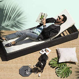 Divano Roma Furniture Outdoor Patio Lounge Chair Adjustable Folding Recliner Chaise Long Rattan Chair (Black, Ivory)