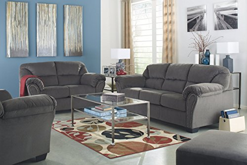 Ashley Furniture Signature Design - Kinlock Polyester Upholstered Loveseat with Nailhead Trim - Contemporary - Charcoal