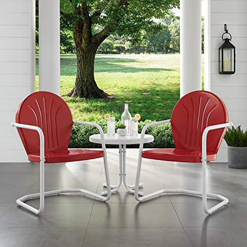 Crosley Furniture Griffith 3-Piece Metal Outdoor Conversation Set with Table and 2 Chairs - Red