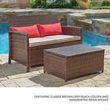 SUNCROWN Outdoor Furniture Wicker Love-seat with Coffee Table (2-Piece Set) Built-in Storage Bin, Comfortable All-Weather Cushions, Patio, Backyard, Porch, Garden, Poolside