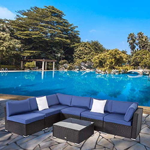 Peach Tree Outdoor Furniture Sectional Wicker Sofa Set 7 PCs Patio Resin Rattan Clearance, All-Weather Washable Waterproof Dark Blue Cushions, w/Glass Coffee Table, Backyard, Pool
