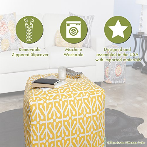 "Majestic Home Goods Chocolate Plantation Indoor/Outdoor Bean Bag Ottoman Pouf Cube 17"" L x 17"" W x 17"" H"