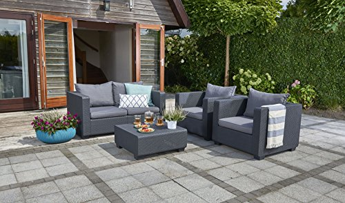 Keter Salta All Weather Outdoor Patio Furniture Loveseat 2-Seater with Sunbrella Cushions in a Resin Plastic Wicker Pattern, Modern Graphite/Cool Grey