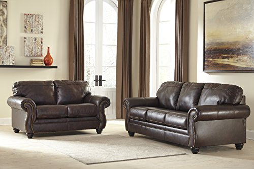 Ashley Furniture Signature Design - Bristan Traditional Style Faux Leather Sofa with Nailhead Trim - Walnut Brown