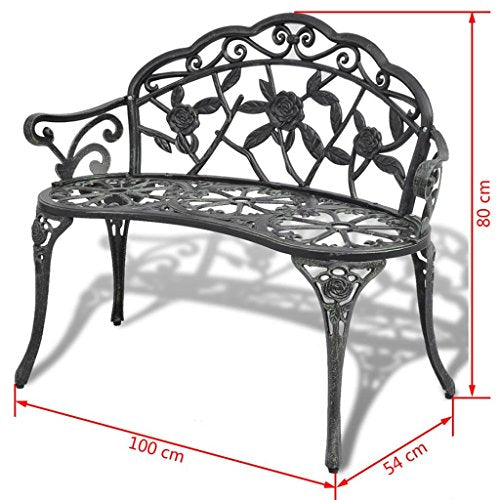 "Festnight 2 Seater Garden Bench Outdoor Patio Porch Chair Seat with Backrest and Armrest Aluminum Frame Solid Construction Backyard Park Lawn Balcony Outdoor Furniture 39"" x 21"" x 31"" (L x W x H)"