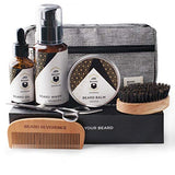 BEARD REVERENCE Premium Beard Grooming Kit for Men Care w/Upgraded Travel Bag - Organic Unscented Beard Oil, Beard Balm Butter Wax, Beard Wash, Scissors, Comb, Boar Bristle Brush with Gift Set Box