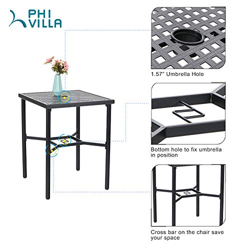 "PHI VILLA 28in Patio Height Bistro Square Table with Umbrella Hole - 36"" Height"