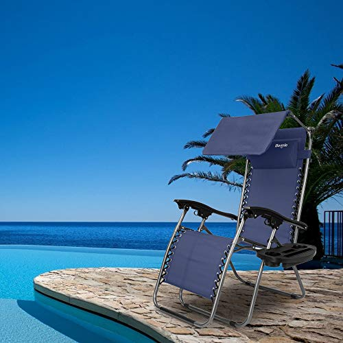 Bonnlo Zero Gravity Chair with Canopy Patio Sunshade Lounge Chair, Adjustable Folding Shade Reclining Chairs with Cup Holder and Headrest for Beach Garden (Blue)