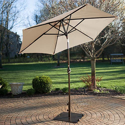 Abba Patio 53 lb. Square Steel Market Patio Umbrella Base Stand with Wheel and 2 Separate Poles, L x 24''W, Brown