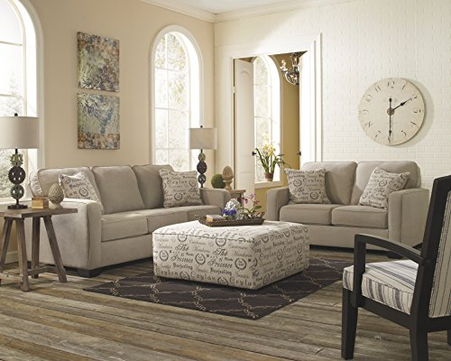 Ashley Furniture Signature Design - Alenya Sofa Loveseat with 2 Throw Pillows - Classic Upholstery - Vintage Casual - Quartz