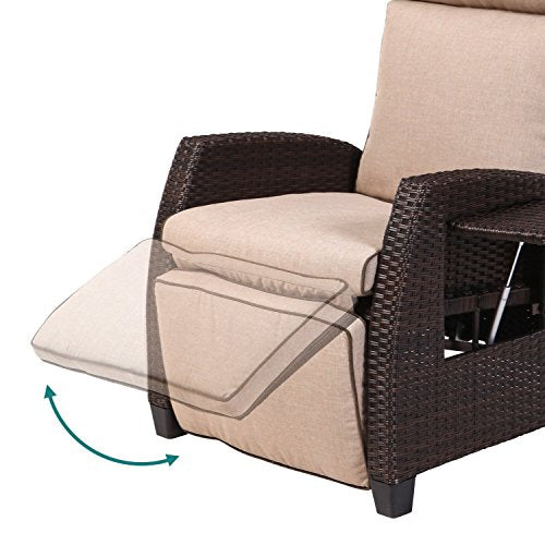LCH Adjustable Recliner Relaxing Sofa Chair Outdoor Wicker Furniture Aluminum Frame Lounge with Beige Soft Thicken Cushions | Porch, Backyard, Pool or Garden