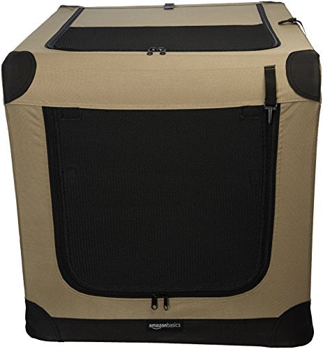 AmazonBasics Portable Folding Soft Dog Travel Crate Kennel - 24 x 24 x 36 Inches, Tan
