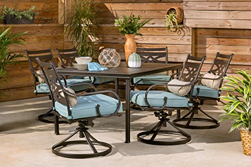 "Hanover MCLRDN7PCSQSW6-BLU Montclair 7-Piece Set in Ocean Blue with 6 Swivel Rockers and a 40"" x 67"" Dining Table Outdoor Furniture"