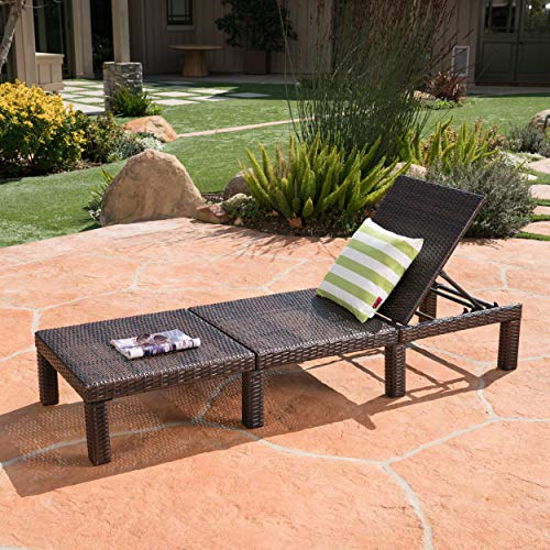 Great Deal Furniture 303846 Joyce Outdoor Multibrown Wicker Chaise Lounge Without Cushion