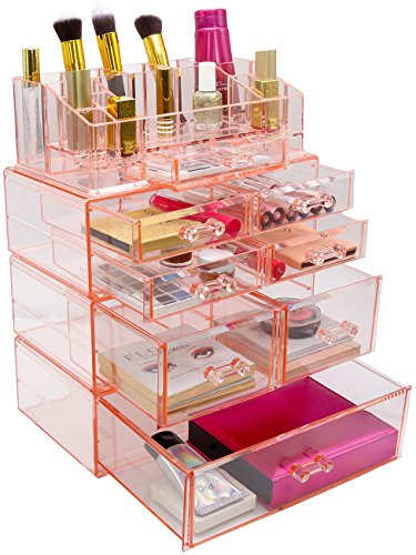 Sorbus Acrylic Cosmetics Makeup and Jewelry Storage Case Display Sets - Interlocking Drawers to Create Your Own Specially Designed Makeup Counter - Stackable and Interchangeable (Pink)