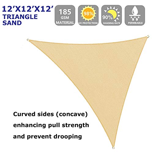 12' x 12' x 12' Sun Shade Sail Triangle for Patio Yard Deck Pergola Outdoor Sun Sail Shade UV Block Sunshade Sand Color
