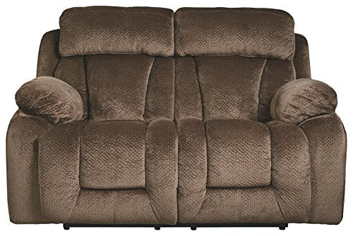 Ashley Furniture Signature Design - Stricklin Power Reclining Loveseat - Contemporary Upholstered Recliner - Chocolate