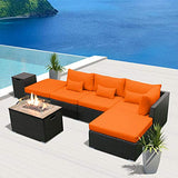 Modenzi Outdoor Sectional Patio Furniture with Propane Fire Pit Table Espresso Brown Wicker Resin Garden Conversation Sofa Set (6L Sofa Rectangular Fire Pit, Orange)