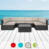 Walsunny 7pcs Patio Outdoor Furniture Sets,Low Back All-Weather Rattan Sectional Sofa with Tea Table &Washable Couch Cushions (Black Rattan (Khaki)