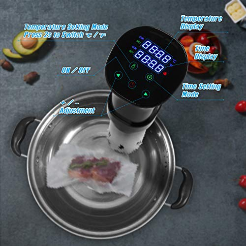 VPCOK Sous Vide Cooker Accurate Immersion Cooker Control Temperature and Timer, 1000 Watts, 100-120V, Sous Vide Cookbook Included