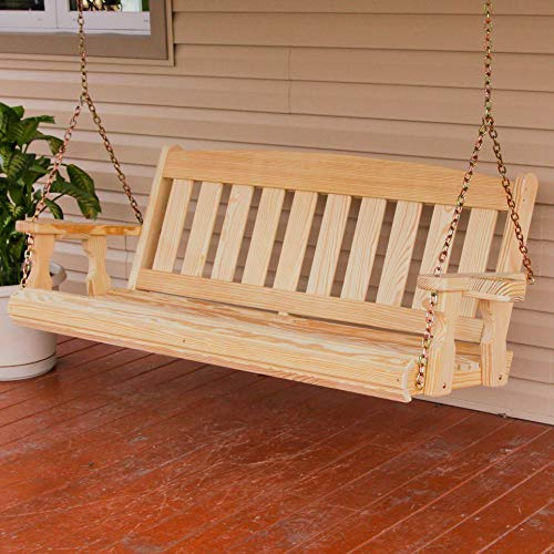 CAF Amish Heavy Duty 800 Lb Mission 4ft. Treated Porch Swing With Cupholders